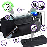 BTR Stroller Organizer Storage Bag, Exclusive Phone-Flip-Pocket Cell Phone Holder and DETACHABLE Purse PLUS 2 Stroller Hooks