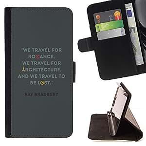 For Sony Xperia M2 Case , Viajes Arquitectura Cita Bradbury Ray- la tarjeta de Crédito Slots PU Funda de cuero Monedero caso cubierta de piel