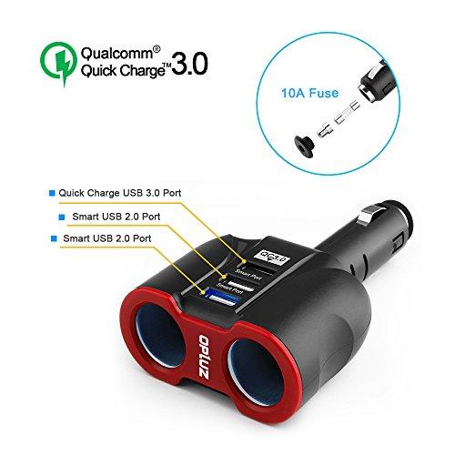 QC3.0 sensible vehicle Charger, 2 Socket + 3 USB ( 2xSmart USB Port & 1xQC3.0 USB Port) multi-function vehicle Socket Splitter Adapter Built-in 10A Fuse for sensible Phones, Tablets, GPS, MP3 Players