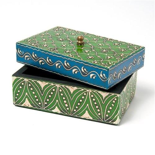 Sitara Collections SC1942 Hand-Painted Green Mango Wood Box, Medium - Deep Blue Mango Wood