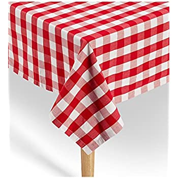 Marvelous Gingham Tablecloth 100% Cotton | Premium Quality | Red / White Checkered  Square Tablecloth 52