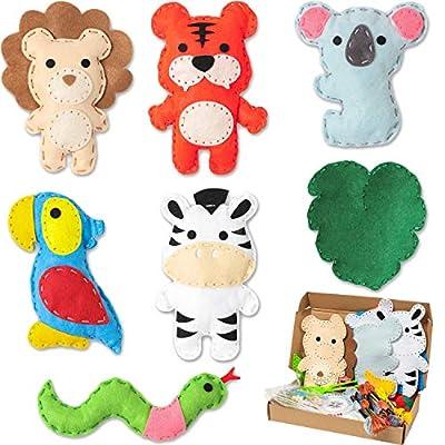 WATINC 7Pcs Jungle Animals Sewing Kit for Kids DIY Art Craft Sew Kits Cute Wild Animal Parrot Tiger Koala Lion Zebra Snake Leaf Creative Indoor Activity Party Supplies Fun Gift for Girls Boys: Toys & Games