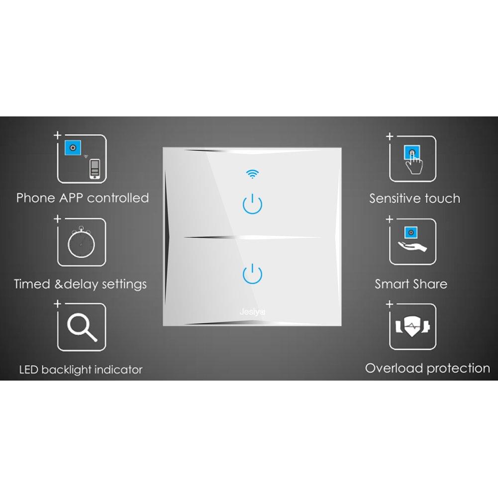 Smart Home Wand-Lichtschalter 2-Gang, W-Lan-fähig ...