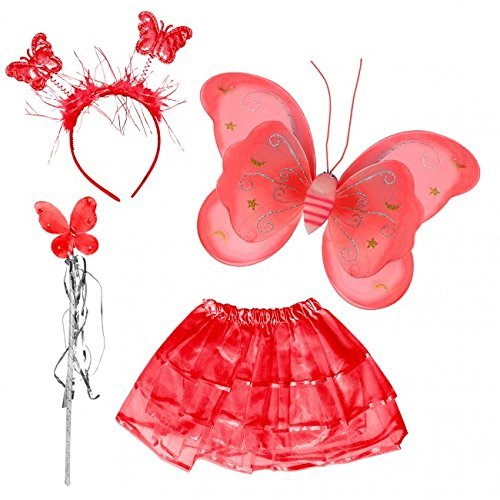 Fairy Butterfly Wing 4 Piece Set Costume Tutu Ballerina Dress up Dance Skirt (Red)