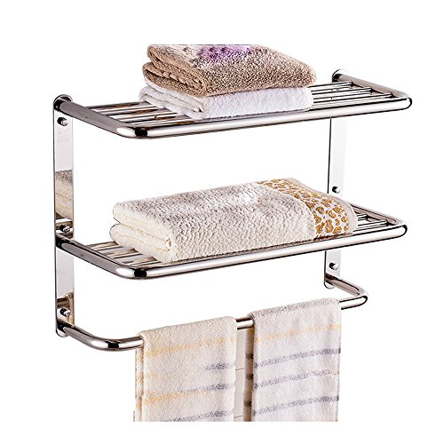 LUANT 24 Inch Bathroom Shelf 3-Tier Wall Mounting Rack with Towel Bars