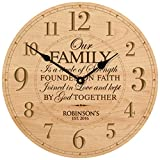 Personalized Wedding Gifts for him her parents Modern Decorative Custom Engraved Wall Desk Clocks Housewarming ideas Our Family is a circle of Strength 12''x12'' By Dayspring Milestones (Maple)