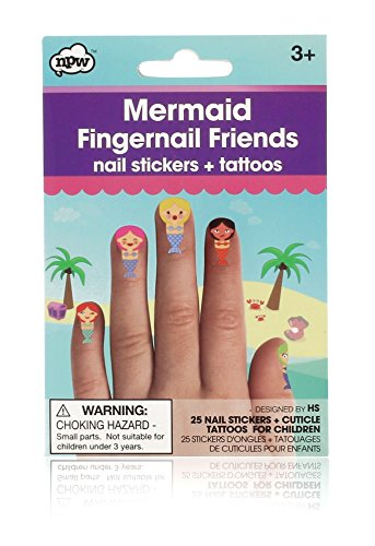 NPW Fingernail Friends Cuticle Tattoos, Mermaid, 25-Count (Best Friend Finger Tattoos)