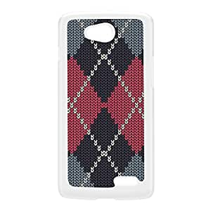 Gray and pastel Pink Knitted Argyle Pattern White Hard Plastic Case for LG L90 by UltraCases + FREE Crystal Clear Screen Protector