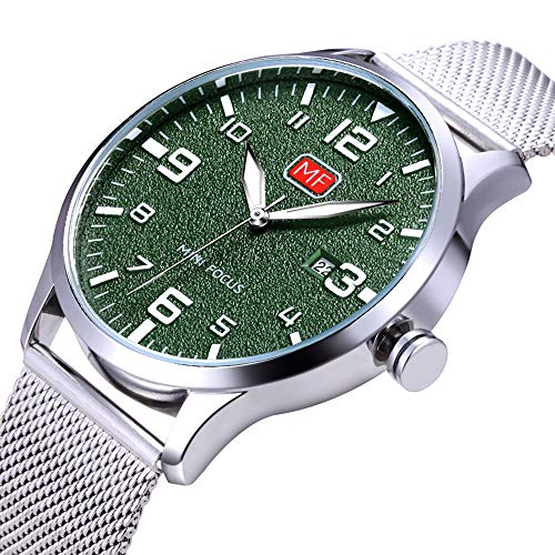 Men's Analog Quartz Watch with Numbers Date Waterproof Silver Stainless Steel Mesh Band Green Dial Casual Dress Wrist Watches for Men -