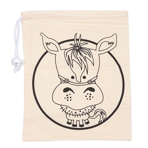 6x Pony Pferde Mitgebselbeutel zum ausmalen + 1x Textilmalstifte, Tasche, Textiltasche, Tragetasche, Partybeutel,