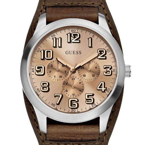 Guess-W0182G1-Reloj-analgico-de-cuarzo-para-hombre-con-correa-de-piel-color-marrn