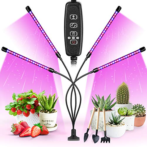 Garpsen Plant Grow Light for Indoor Plants, Upgraded Version 4 Head 80 LED Full Spectrum Grow Lamp with Timer, 3 Lighting Mode, 10 Dimmable Levels, Professional for Seeding Succulents Herbs