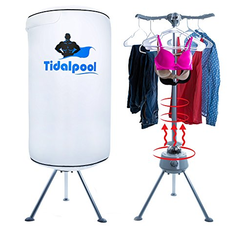 Electric Portable Clothes Dryer – Laundry Drying Rack with High Powered 1200W Heater and Germ Killing UV Light Sanitation – Compact with 22Lb Capacity – Tidalpool