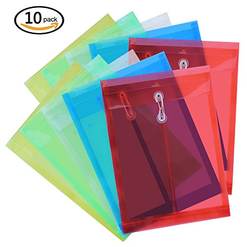 Meetory 10Pcs Letter Size Poly String Envelope,Colourful Translucent with Expandable Gusset,5 Translucent Color Colored Gussets