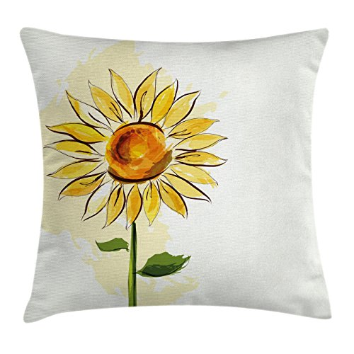 Sunflower Design Throw Pillow Cover 18 x 18
