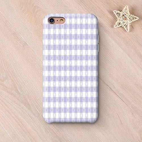 Lavender Printing Compatible with iPhone Case,Pastel Colored Classic Gingham Check Pattern with Delicate Small Blossoms Decorative Compatible with iPhone 6 Plus / 6s Plus,iPhone 6 Plus / 6s Plus