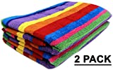 Cotton Craft Jacquard Double Woven Velour Beach Towel, 39 x 68-Inch, Summer of Siam Multi-Color Stripe, 2 Pack