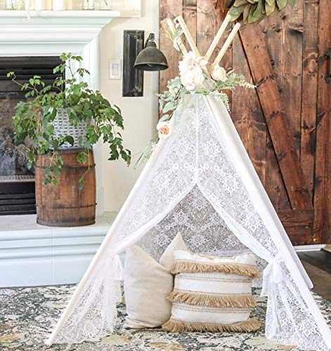 the latest 510b7 cadee Tiny Land Kids Teepee Tent for Indoor Outdoor Children Play Tent , 5' Boho  Lace Tipi