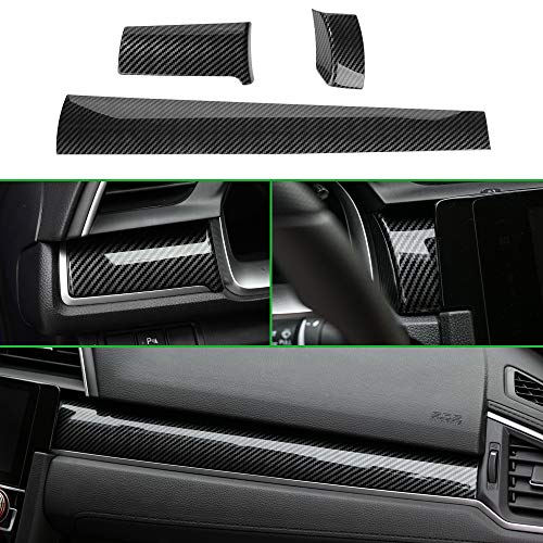 Thenice for 10th Gen Civic Dash Board Panel Dial Dashboard Cover Trims ABS Carbon Fiber Style Decal Center Console Moulding Stickers for Honda Civic 2020 2019 2018 2017 2016