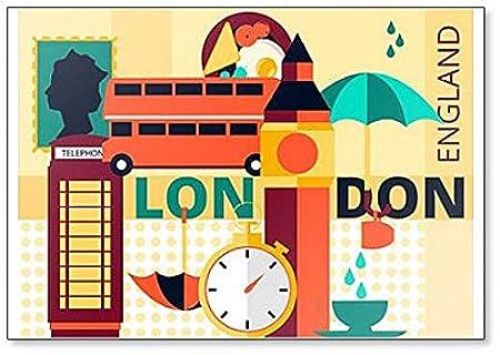 Imán para nevera, diseño de símbolos e iconos retro de Londres ...