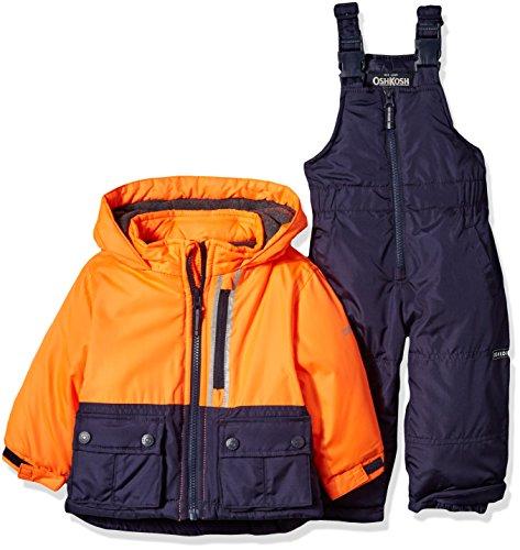 OshKosh B'Gosh Baby Boys Ski Jacket and Snowbib Snowsuit Set, Orange/Navy, 12M