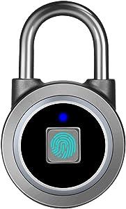 Fingerprint Padlock, Bluetooth Lock, Mobile APP, MEGAFEIS Smart Padlock with Keyless Biometric, Water Resistant, Suitable for Gym, Sports, Bike, School, Fence and Storage(Grey)