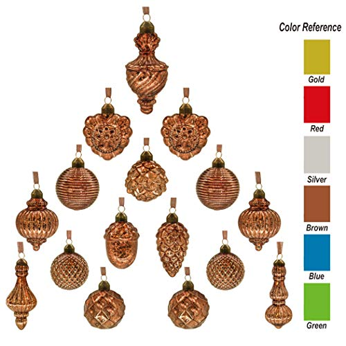 - youseexmas Antique Mercury Glass Christmas Ornaments Pack of 16 (Copper)