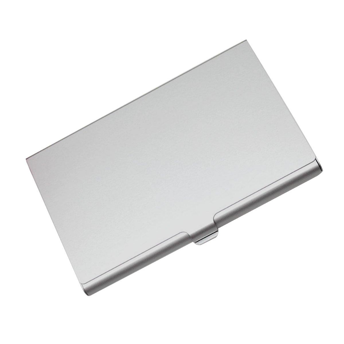 Business Card Holder Aluminum Alloy Pocket Business Card Case Credit (silver) Erms