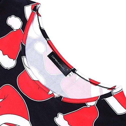 Lunga amp; Stampa Floreale Nero Pieghettata Dreagal Vestito Donne Manica Rosso Della T Cappello Camicia Delle CwxnO0qdd8