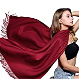 Winter Cashmere Feel Large Scarf - Womens Oversized Wrap Shawl Scarves 78'' x 28'' FURTALK Designed (Wine Red)