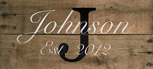 "Ready to Hang Custom Family Name year established handmade wedding housewarming sign - 22"" x 10"" Custom Pallet Sign Decor (Established Year)"