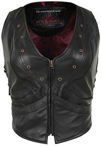 Pokerun Vixen Womens Black Leather Vest - X-Small