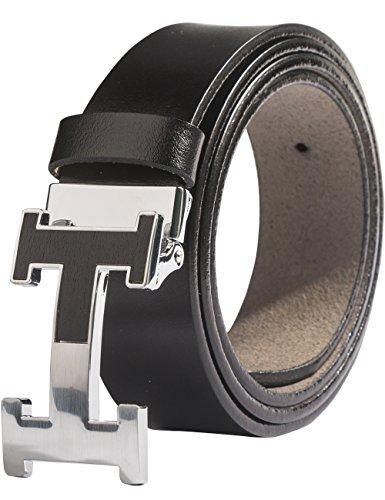 Menschwear Mens Geniune Leather Belt Slide Metal Buckle Adjutable Waistband Black 135cm