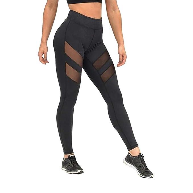 Leisial Pantalón Largos de Fitness Algodón para Mujer ...