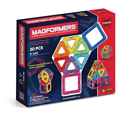 Magformers Basic Set (30 pieces) magnetic building blocks, educational magnetic tiles, magnetic building STEM toy -