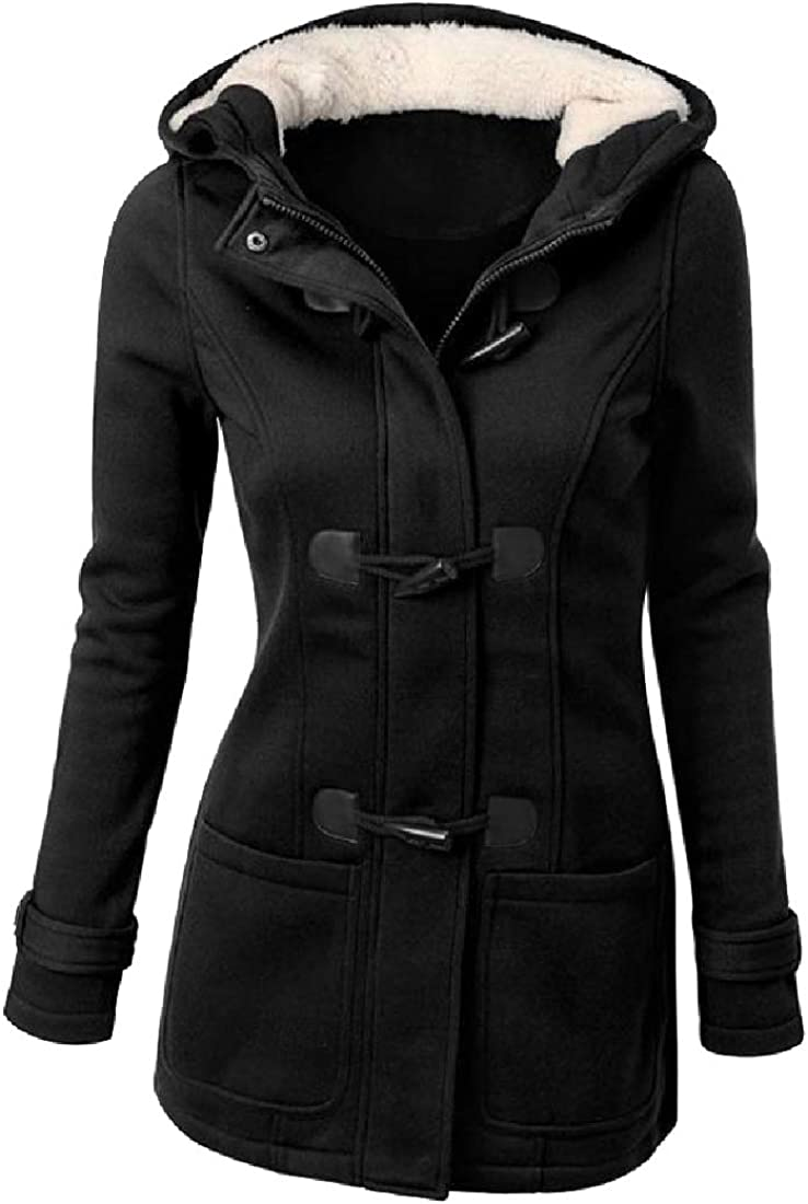 CuteRose Womens Hooded Plus Velvet Mid Long Horn Button Anorak Jacket