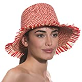 Eric Javits Luxury Fashion Designer Women's Headwear Hat - Tiki Bucket - Red Mix