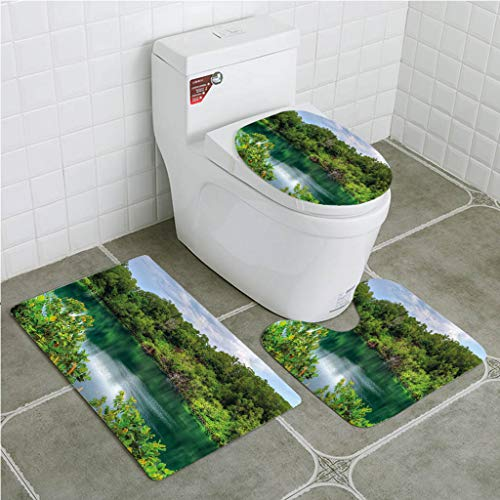 Bathroom Mat Sets 4 Piece-Non-slip - short plush Forest Pulau Ubin Singapore Lagoon Tropical Climate Rainforest Freshness Growth Lush Bathroom Rug + Contour pad + lid Toilet seat+Toilet seat cushion
