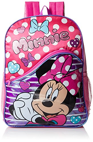 Disney Little Girls Minnie Mouse Polka Dot Stripe 16 Inch Backpack, Pink, One Size by Disney