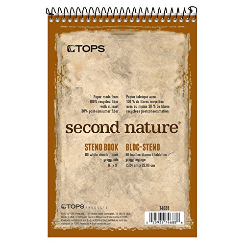 TOPS Second Nature Steno Books, 6' x 9', Gregg Rule, 80 Sheets, 12 Pack (74688)