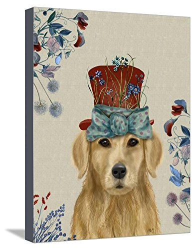ArtEdge Golden Retriever Milliners Dog by Fab Funky, Canvas Wall Art