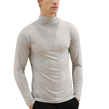 LanLan Camiseta de Hombres Modal, Ropa Interior térmica de Solapa Ajustada, Camiseta de Manga