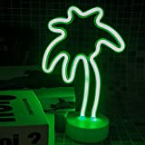 Coconut Tree Neon Sign Light, Indoor Decorative Art Glowing Night Light Battery Powered for Room Wall Decor Home Party Camping Wedding Festival Bar Decor - Green