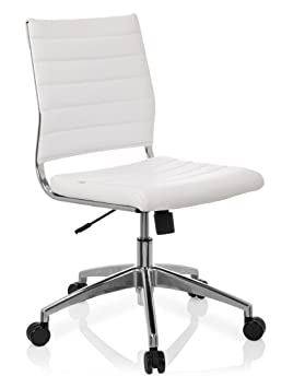 Hjh OFFICE 720003 Chaise De Bureau A Roulettes TRISHA Blanc En Simili