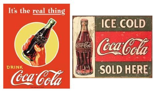 Tin Sign - Coke - C. 1916 Ice Cold Sold Here Color: Ice Cold Sold Here Set of 2 Model: