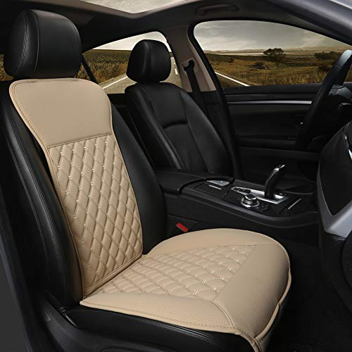 Black Panther Car Seat Cover, Luxury Car Seat Protector,Universal Anti-Slip Driver Seat Cover with Backrest, Diamond Pattern Embroidery (1Piece,Beige)