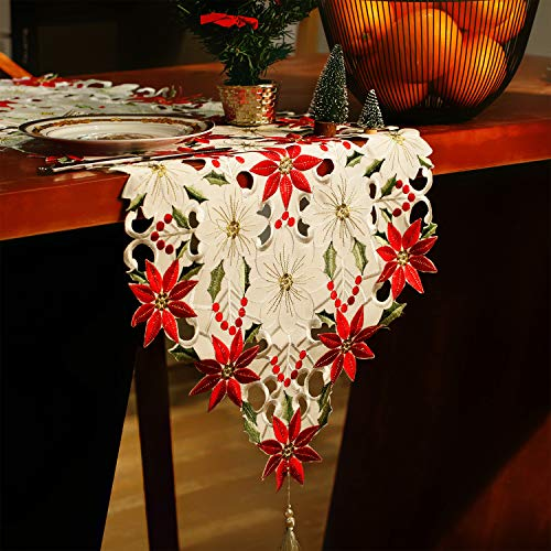 - Jovitec Christmas Table Runner Holly Leaf Table Linens Dresser Scarves Table Decoration for Christmas Party Supplies, 15 by 69 Inches