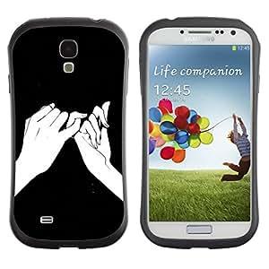 Fuerte Suave TPU GEL Caso Carcasa de Protección Funda para Samsung Galaxy S4 I9500 / Business Style Hands Ink Drawing Black Meaning