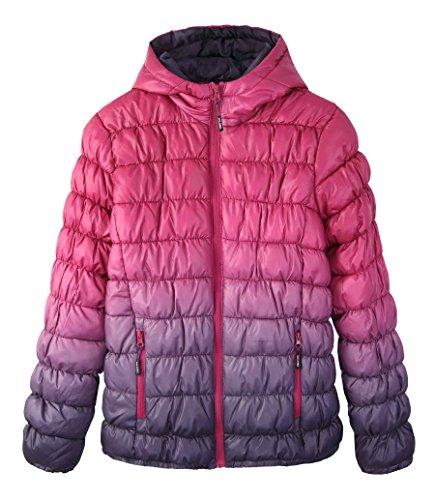 Krumba Gradient Purple Dye Girl's Puffer Jacket Waterproof Dip Girls Zip Hooded Front Jacket 0ZtngAq