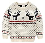 Amao Children's Fireplace Lovely Ugly Sweater Pullover Jumper for Christmas Best Gift (2T, White)